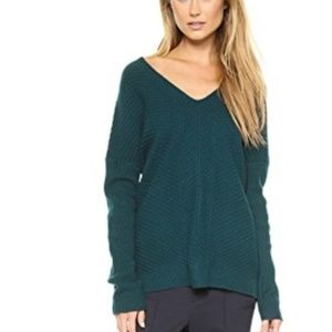 Vince Chevron Double V Sweater Cashmere Wool Teal